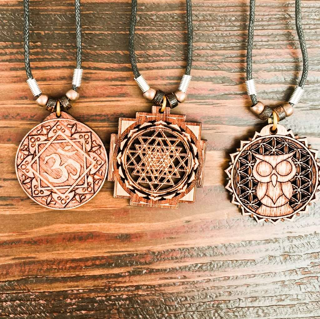 Wooden amulets sold at the Lockport Craft Fair
